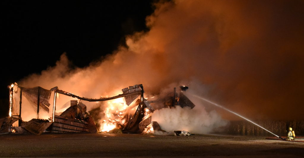 huge hay barn lost to fire the aylmer express