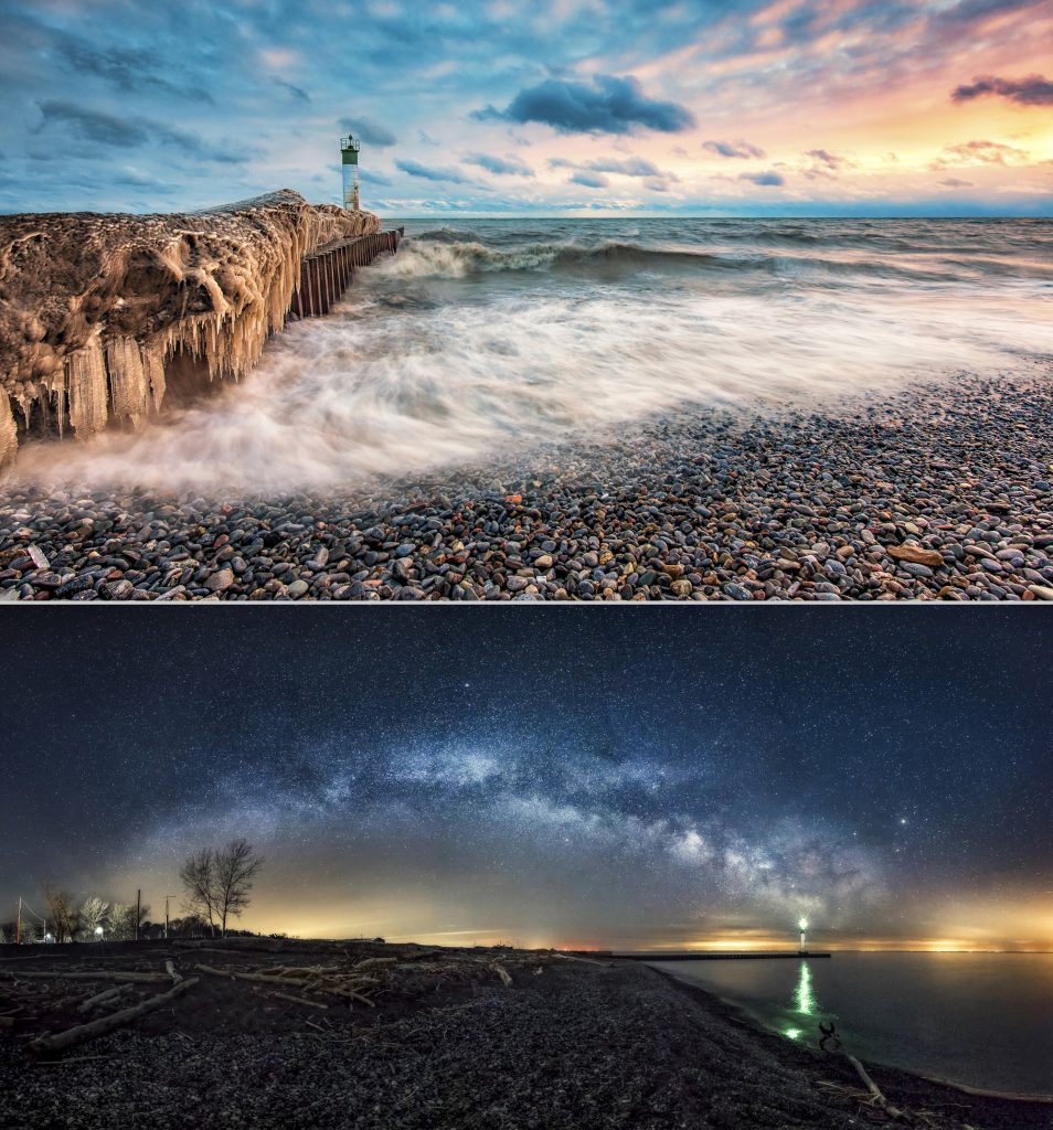 Photographs of Port Bruce pier showing colourful sunset on the rocky shore and the milky way in the night sky