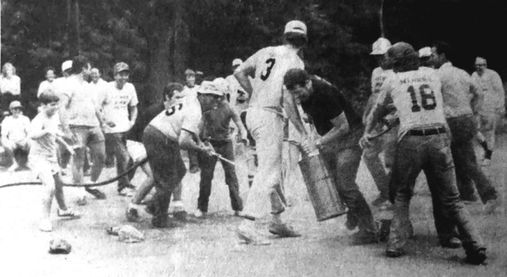 During the water fight between Aylmer police and firemen, the police were beginning to gain the upper hand until the big hose was brought out. Members of both sides were then soaked indiscriminately.